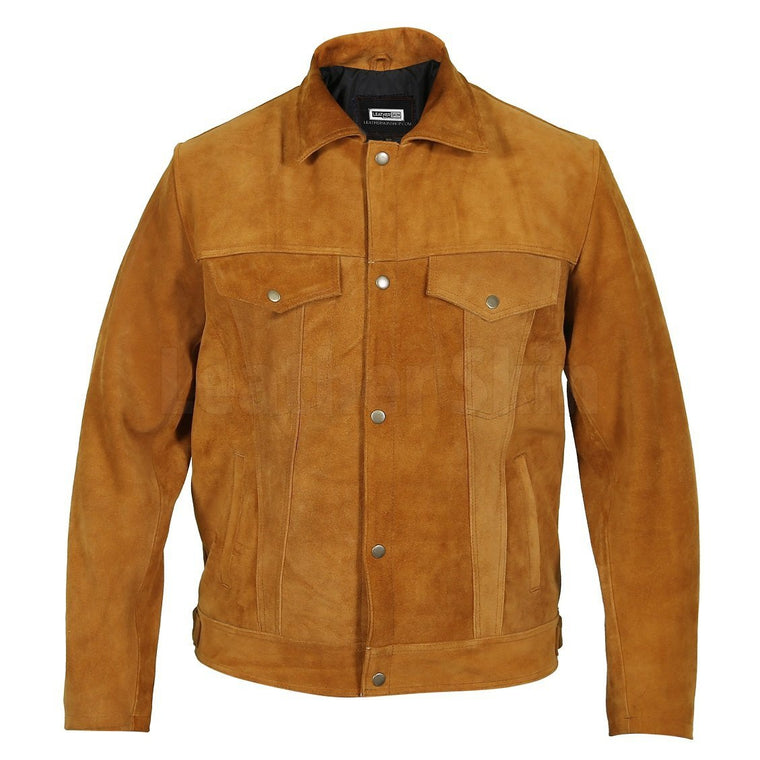 Mens Tan Suede Genuine Leather Jacket