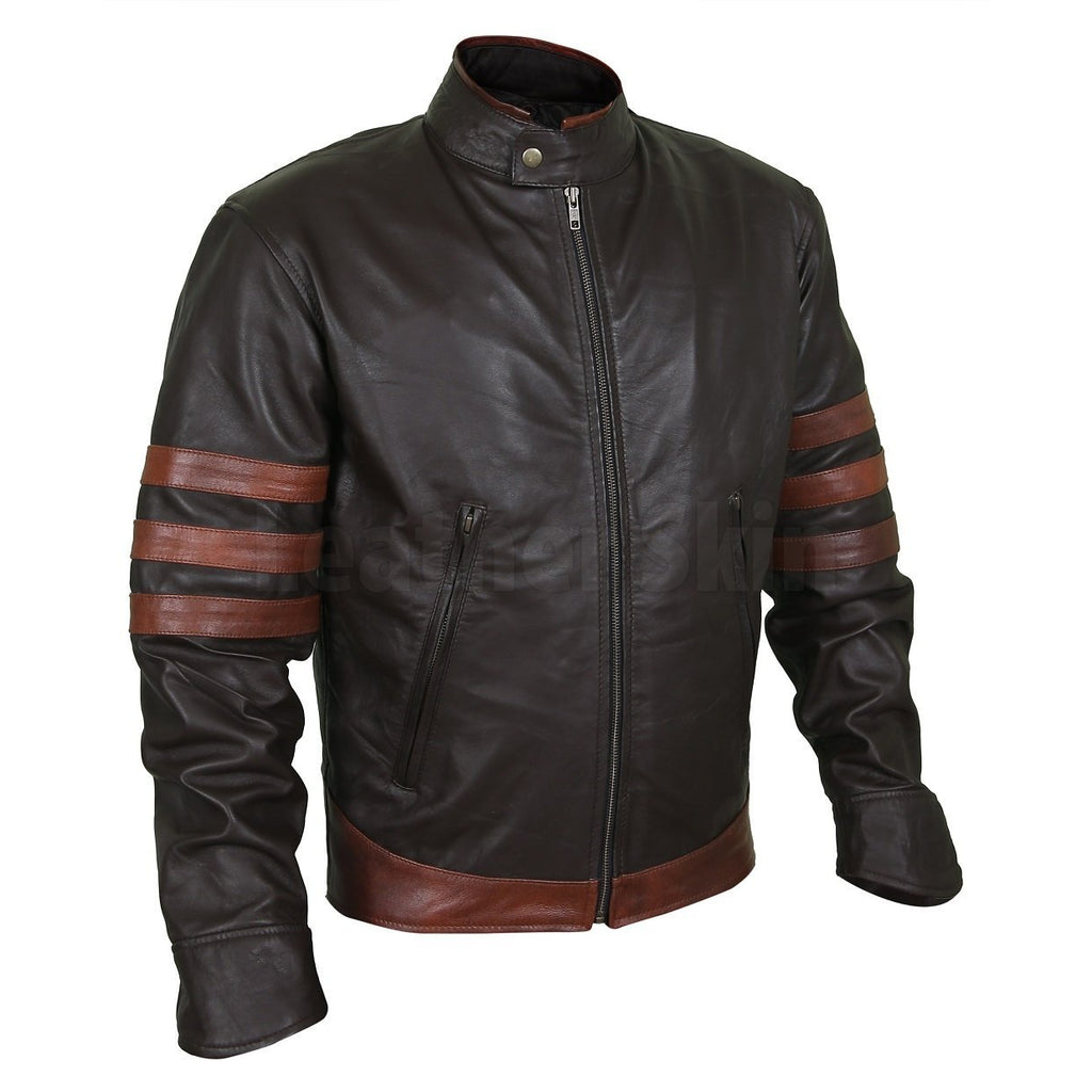 Model Black Leather Racer Jacket