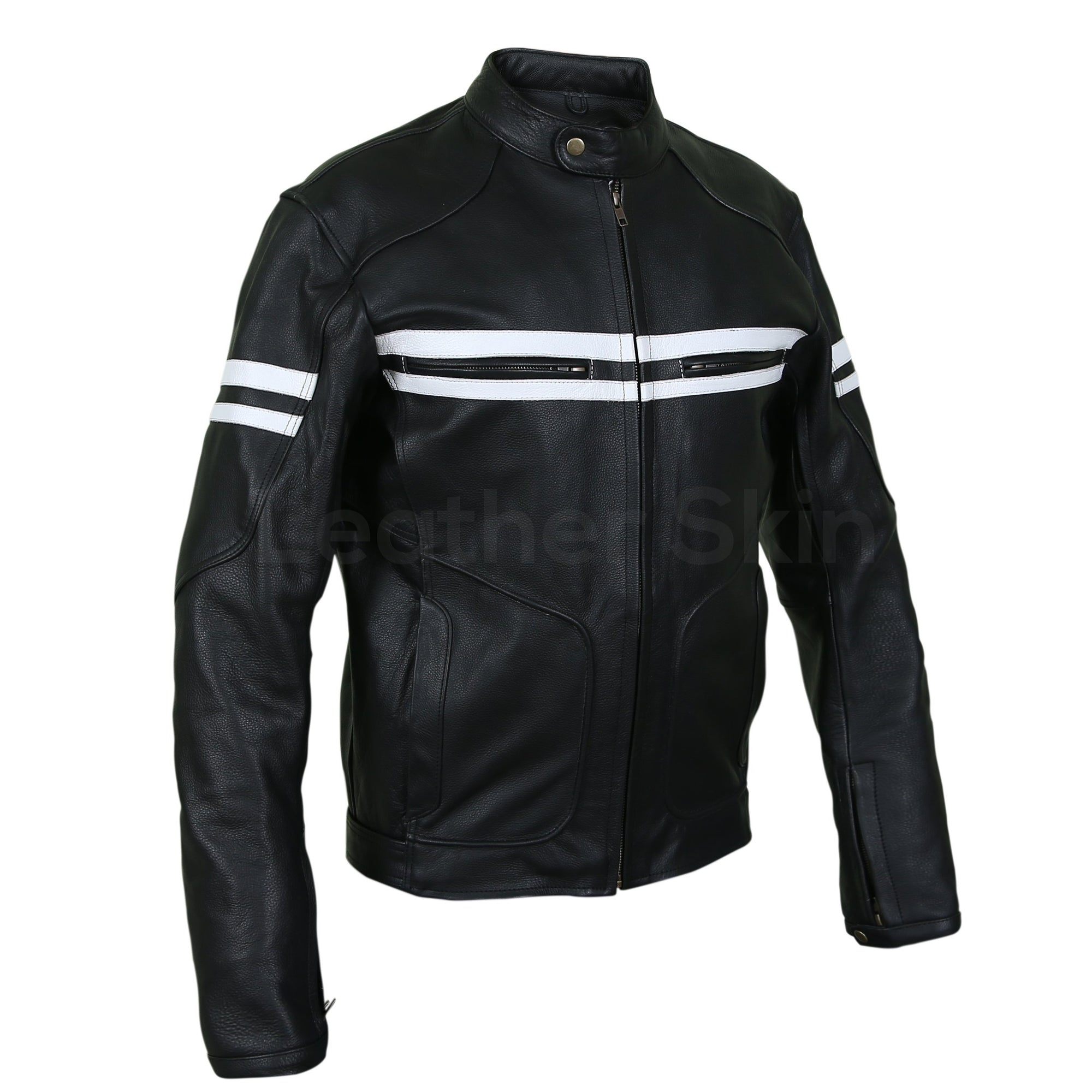 black biker jacket with white stripes