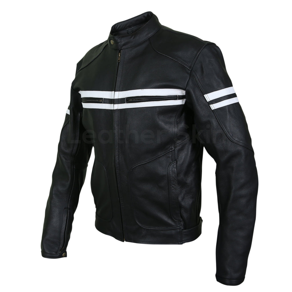 jacket motorcycle leather biker stripes hoodlum skin