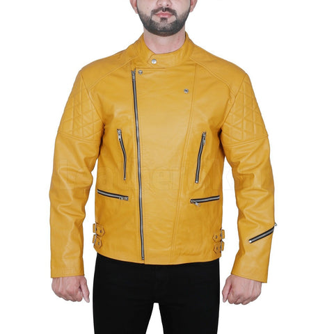 Quilted Shoulder Yellow Leather Jacket For Men