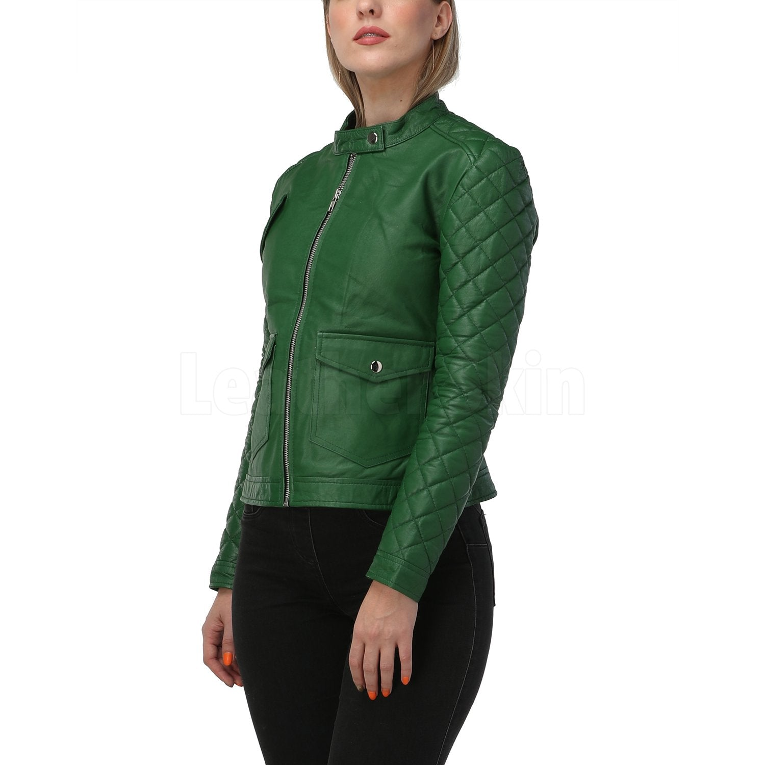 Quilted Sleeves Green Leather Jacket