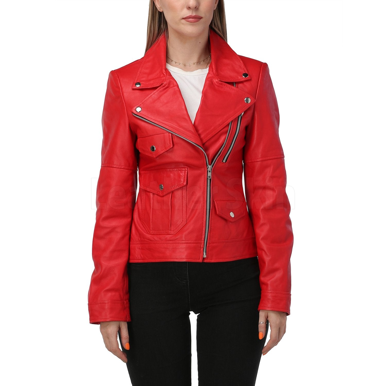 Red Leather Jacket with Classic Collar