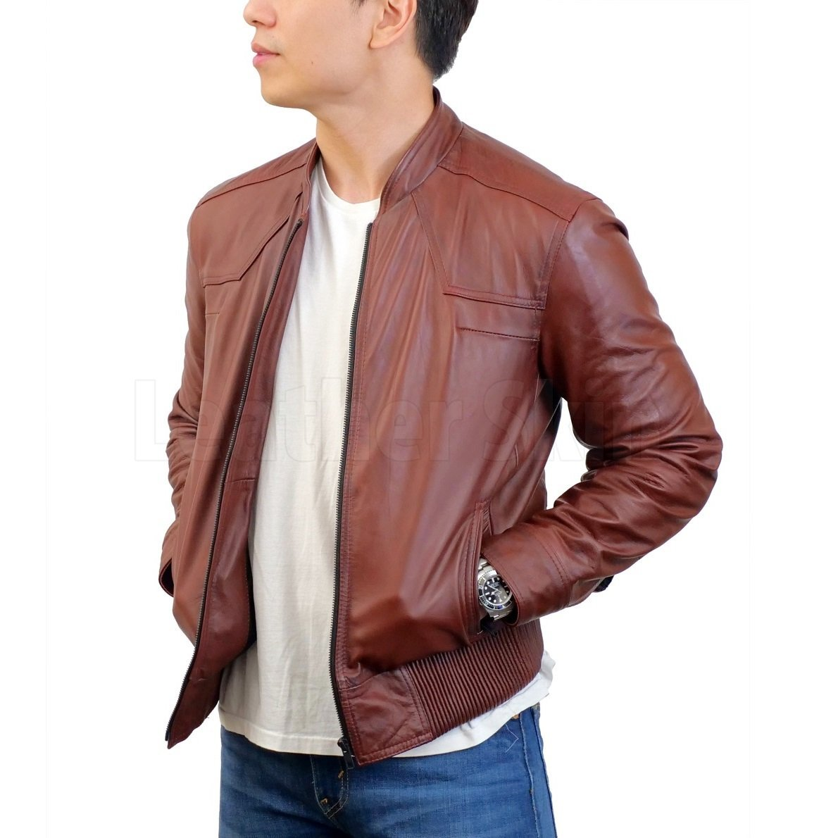 Red Maroon Leather Jacket