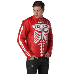 Red Motorcycle Leather Jacket with white skeleton