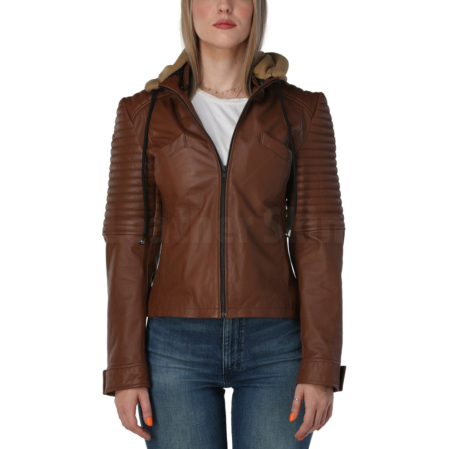 Rey Brown Hooded Leather Jacket