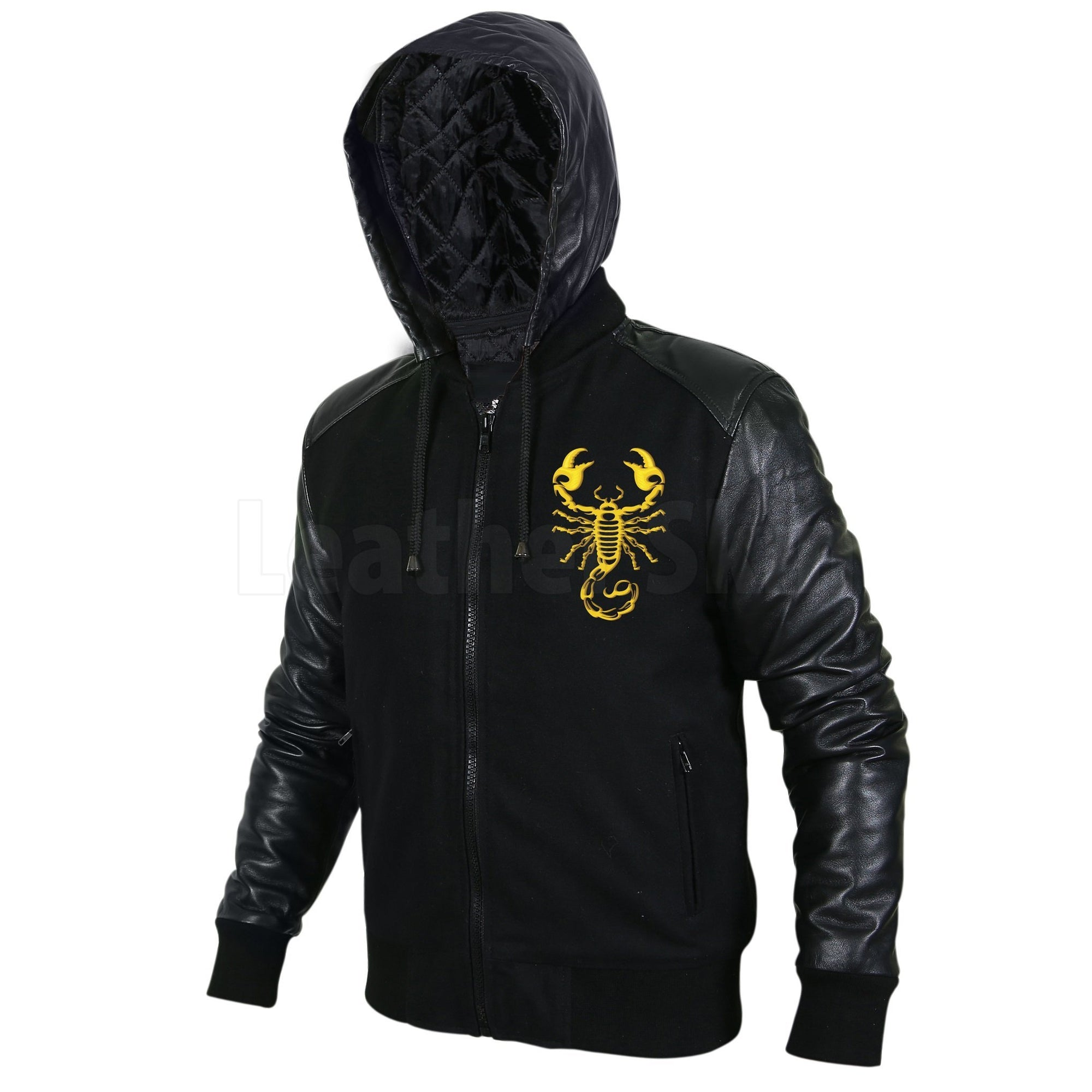 Scorpion Black Hooded Jacket with Leather Sleeves