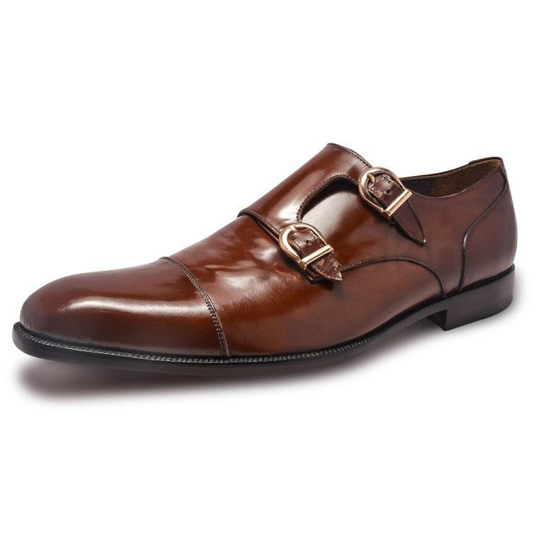Men Brown Double Monk Genuine Leather Shoes
