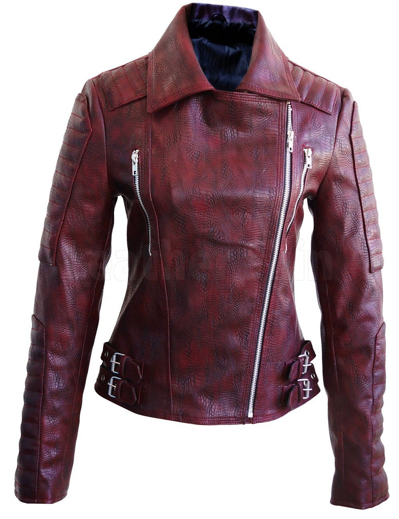 Snake Leather Distressed Pattern Women Dark Maroon Red