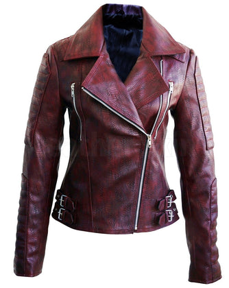 Snake Leather Distressed Pattern Women Dark Maroon Red Leather Jacket by Leather Skin
