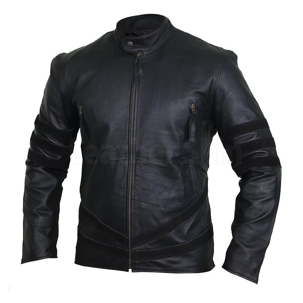 Spectacular Ebony Black Striped Leather Racer Jacket