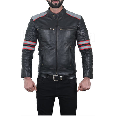 Stylish Coal Black One-Buttoned and Multi-Color Décor Leather Racer Jacket