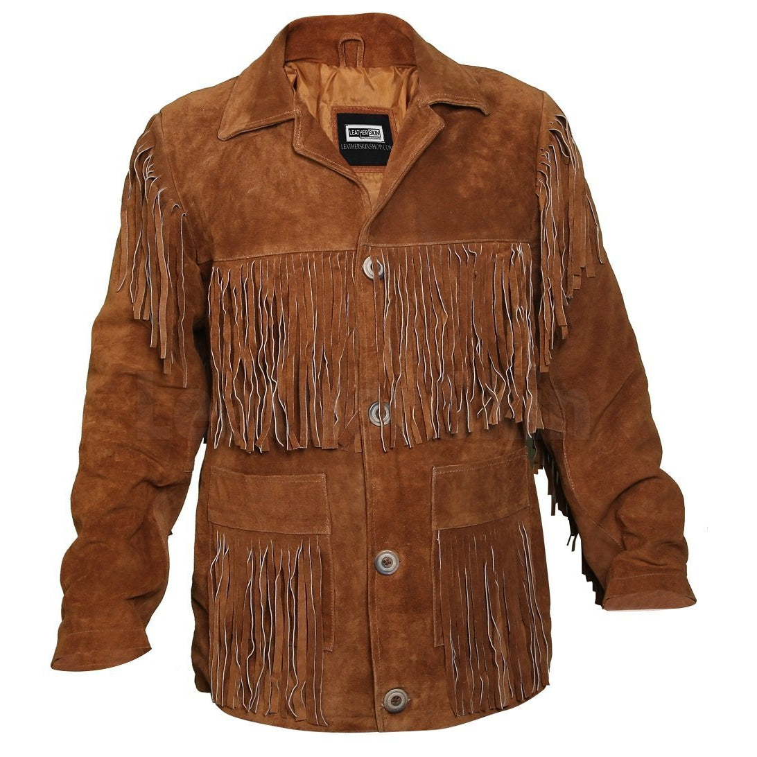 Tawny Suede Leather Jacket with Fringes