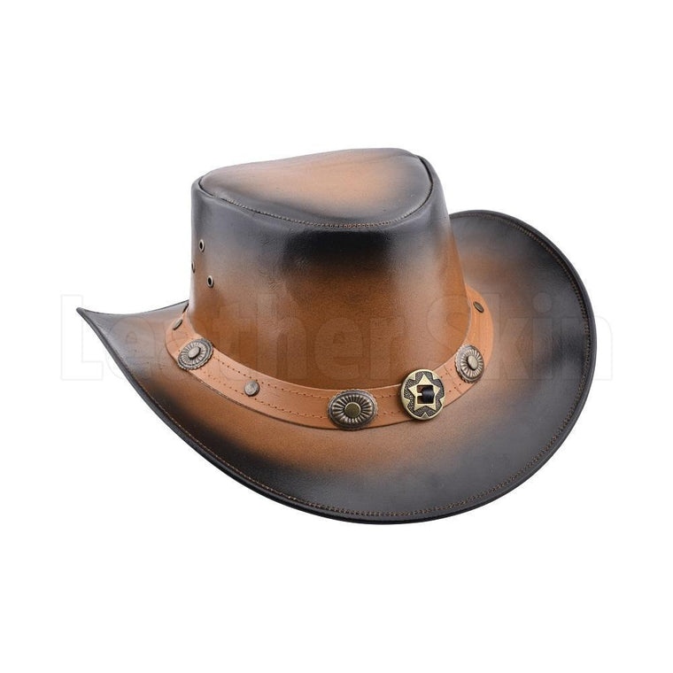 Vintage Caramel Distressed Leather Sheriff Hat