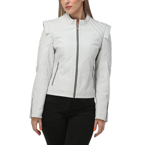 White Quilted Leather Jacket