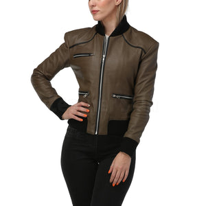 Women Army Green Leather Jacket