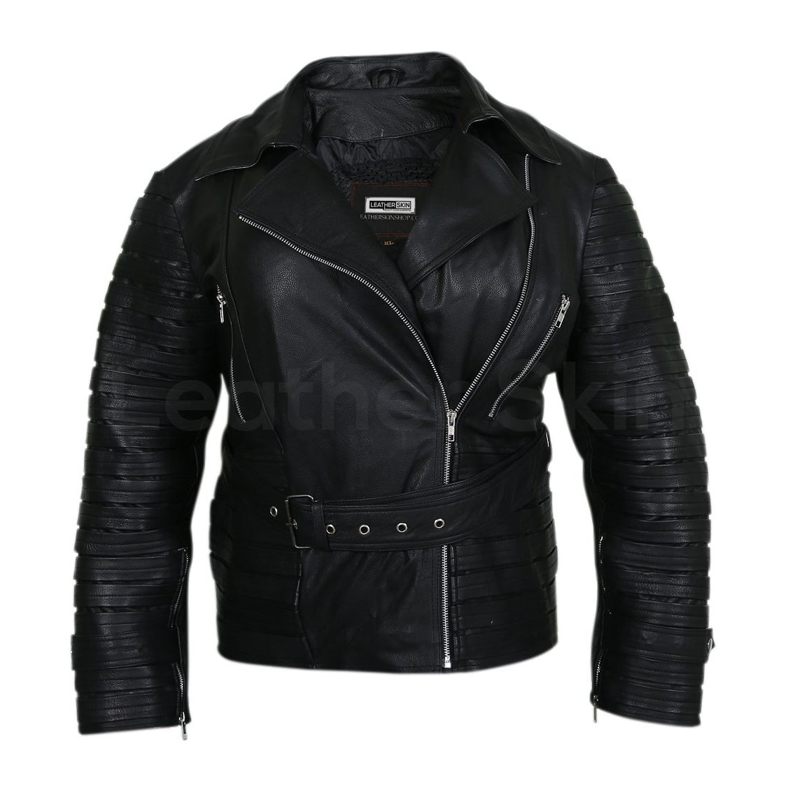 belted leather jacket women