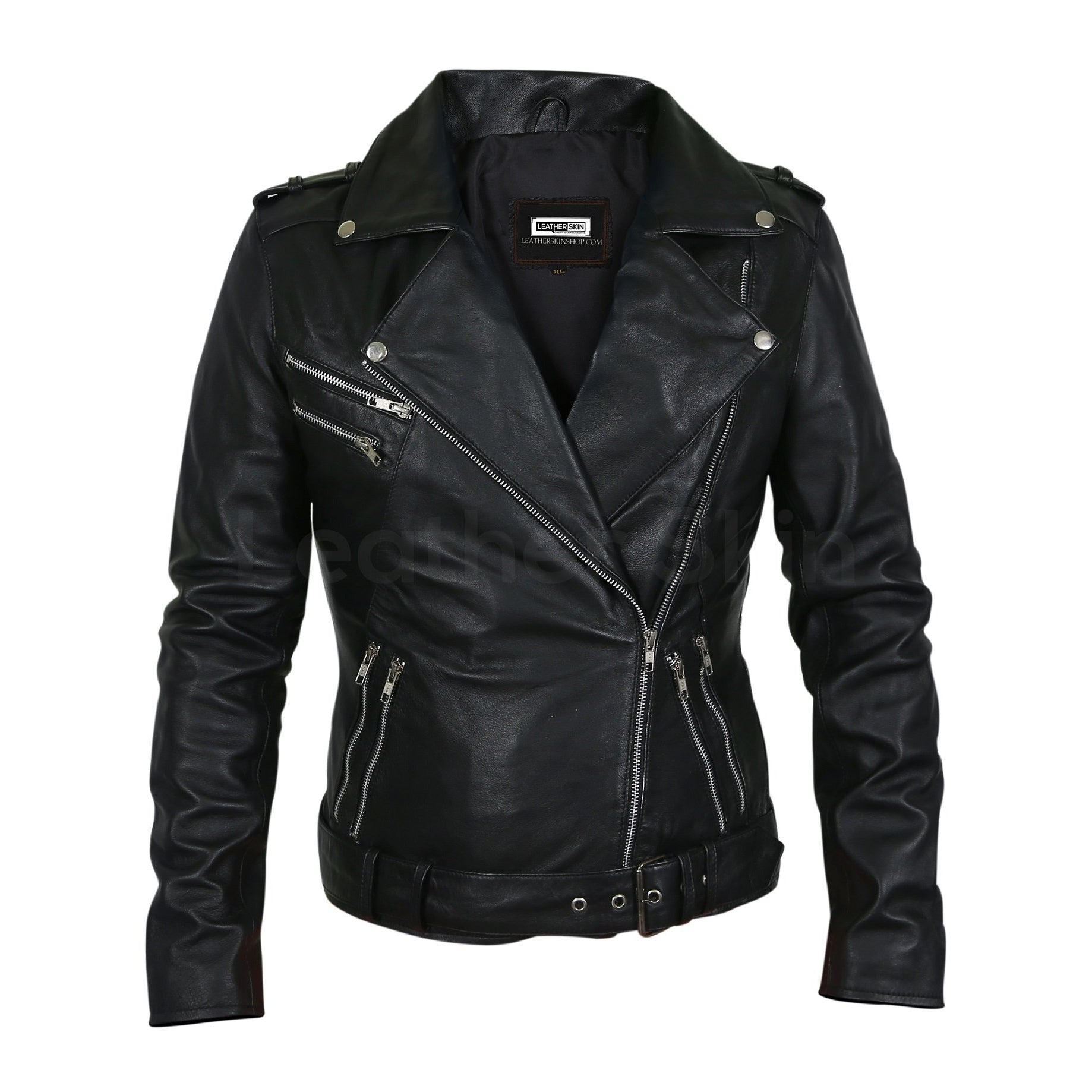 women black leather jacket silver zipper