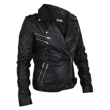 black leather jacket silver hardware women
