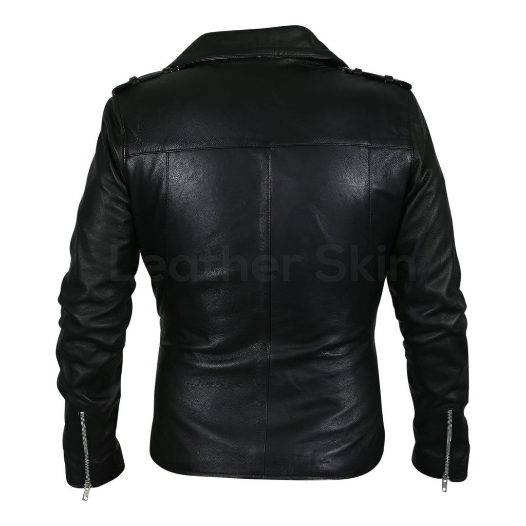 Women Black Belted Motorcycle Leather Jacket with Extra Silver Zippers