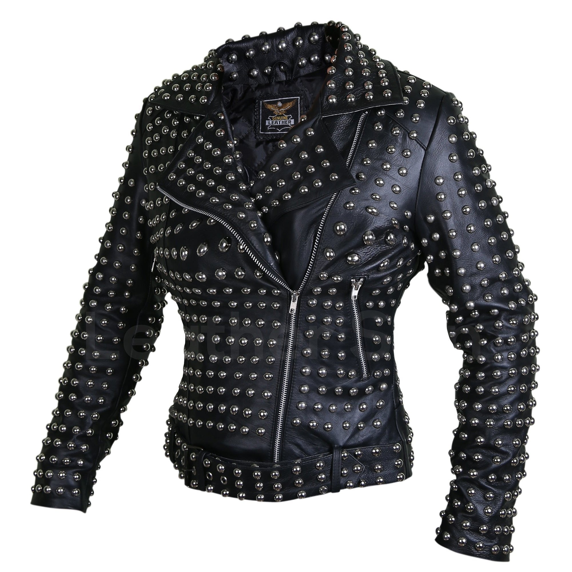 Women Black Brando Belted Round Cap Studded Leather Jacket