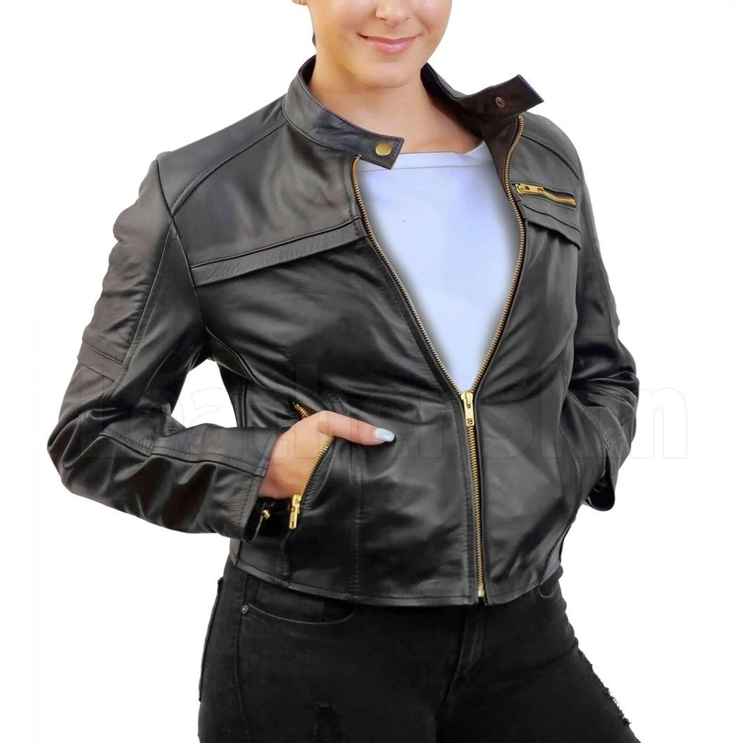 Women Black Handmade Padded Real Leather Jacket with Gold Zippers