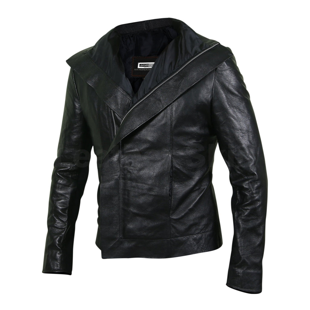 womens black leather jacket with zipper flap