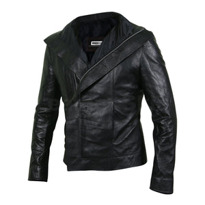 Women Black Leather Jacket with Flap for Front Zipper