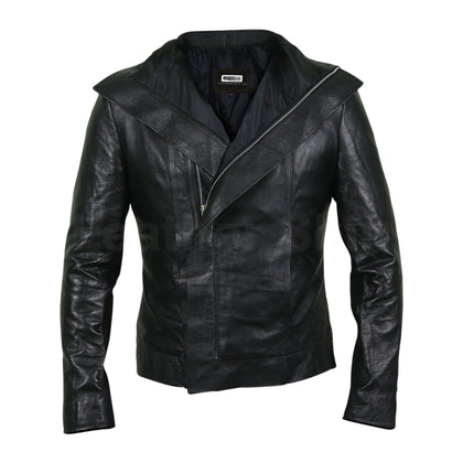 black real leather jacket women