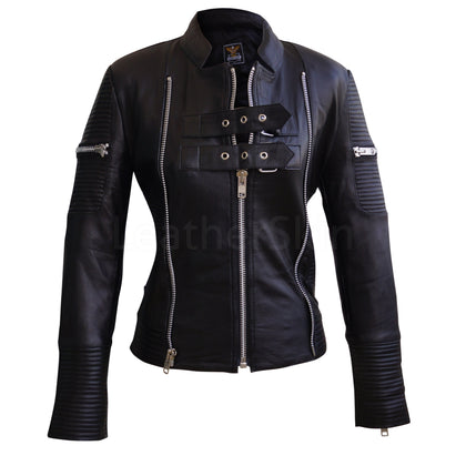 Leather Skin Women Black Brando Quilted Genuine Sheep Skin Leather Jacket