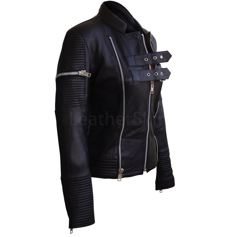Women Black Sheep Skin Rib Quilted Genuine Leather Jacket