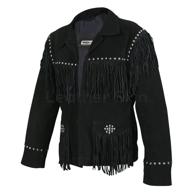 Women Black Western Fringes Cone Spike Studs Suede Leather Jacket