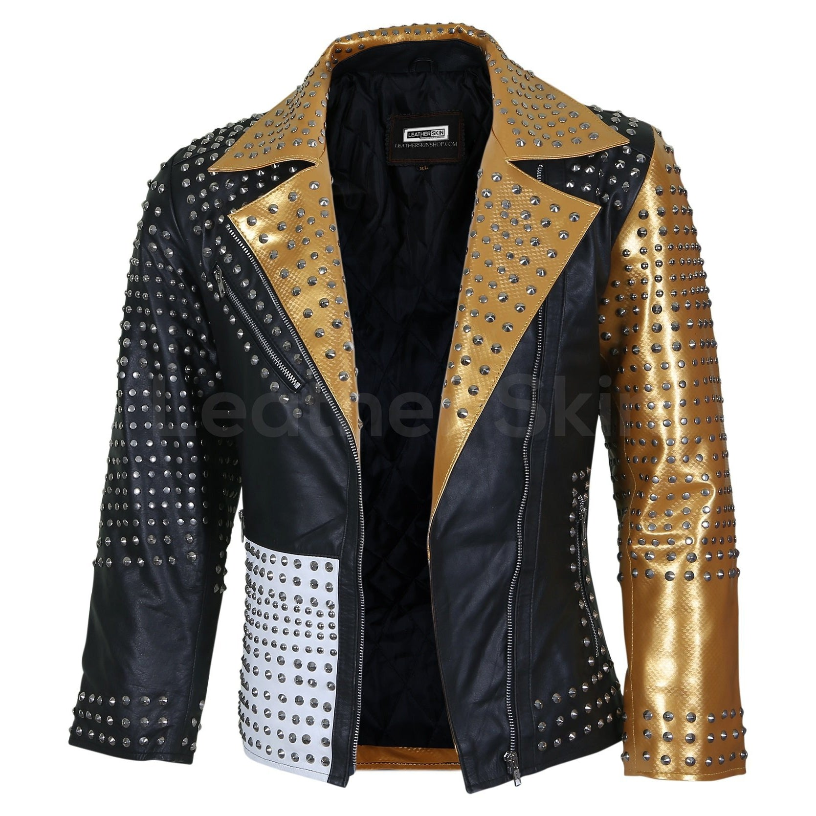 Women Black and Gold Leather Jacket with Cone Spikes