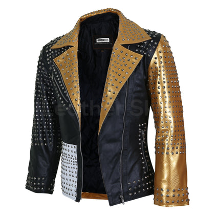 gold leather jacket party womens