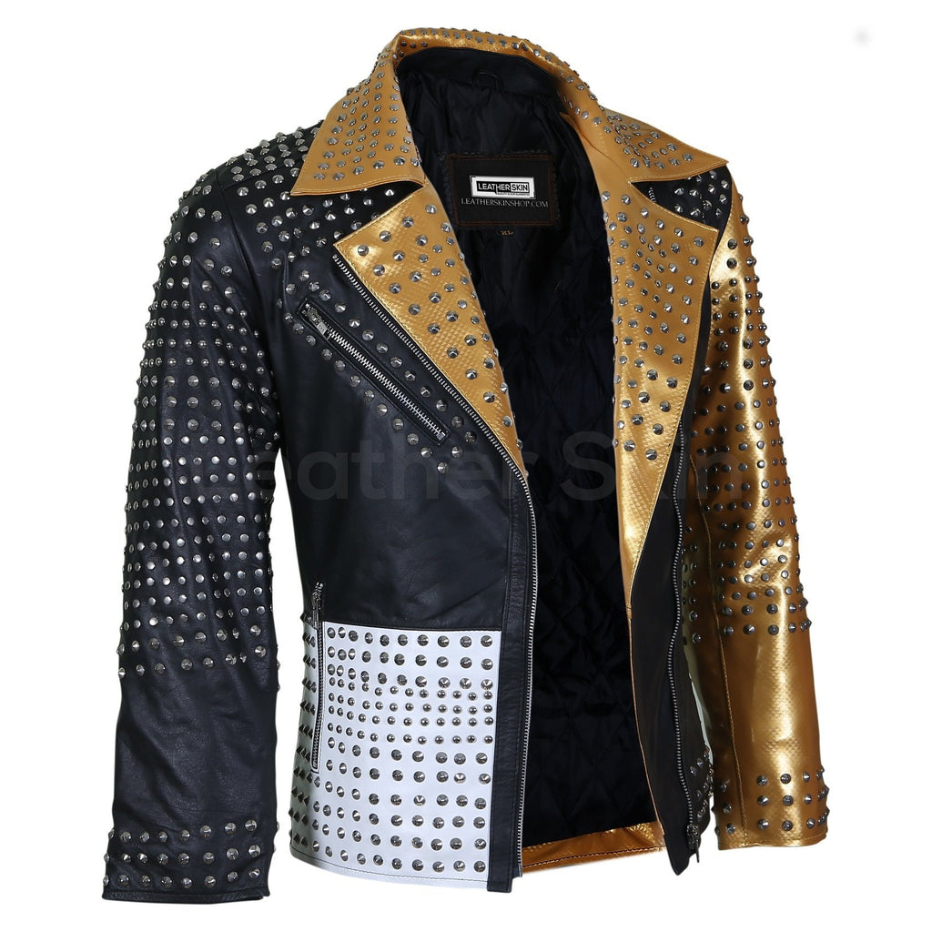 gold spike leather jacket womens