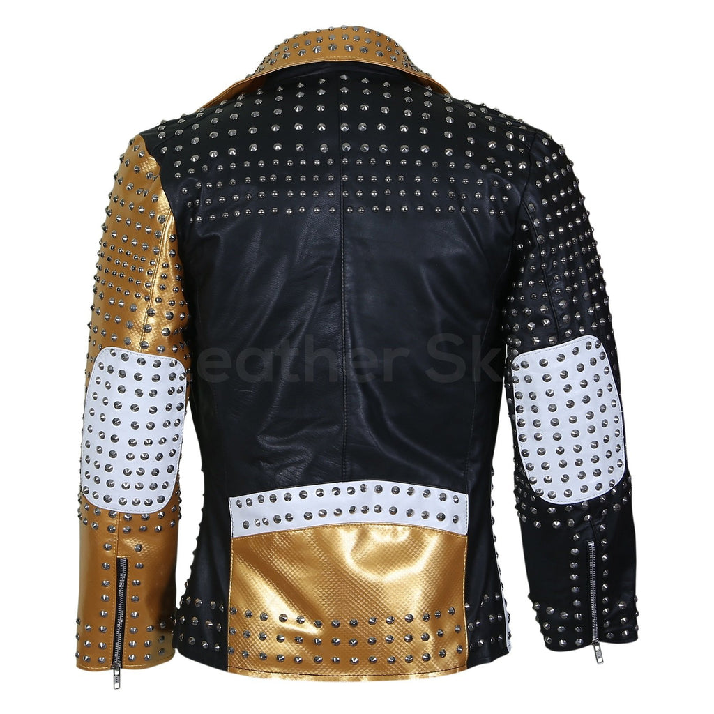 womens jacket with spike studs gold