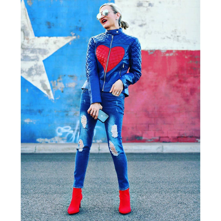 Women Love Blue with Red Heart Shoulder Quilted Genuine Leather Jacket