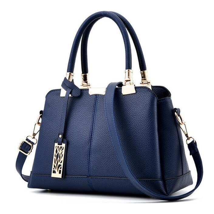 Women Blue Tote Messenger Cross-body Faux-Leather Handbag with Patchwork