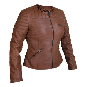 Women Brown Collarless Quilted Padded Shoulder Genuine Leather Jacket