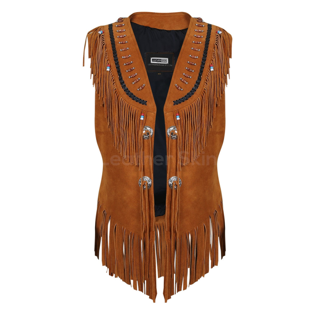 women fringes brown leather jacket