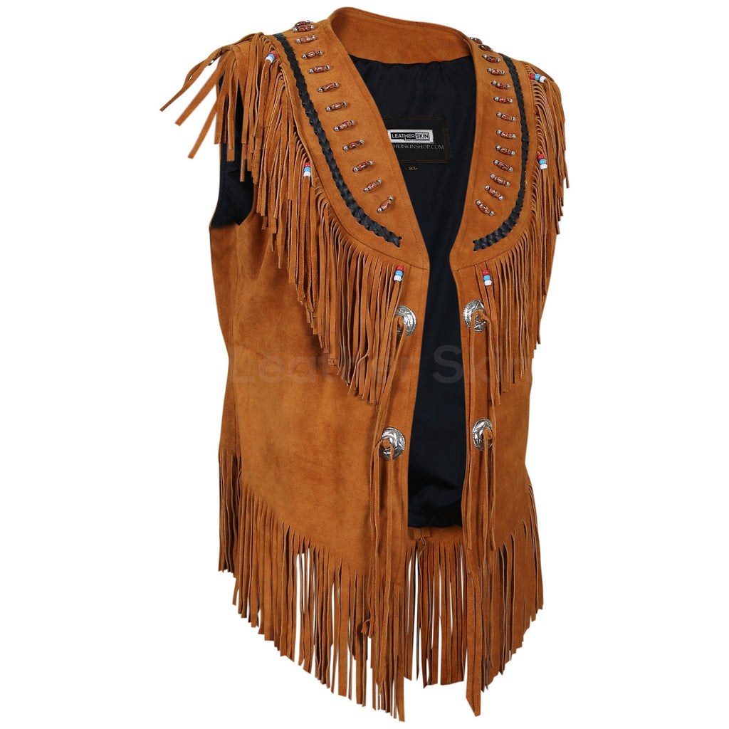 fringes brown suede leather jacket for women