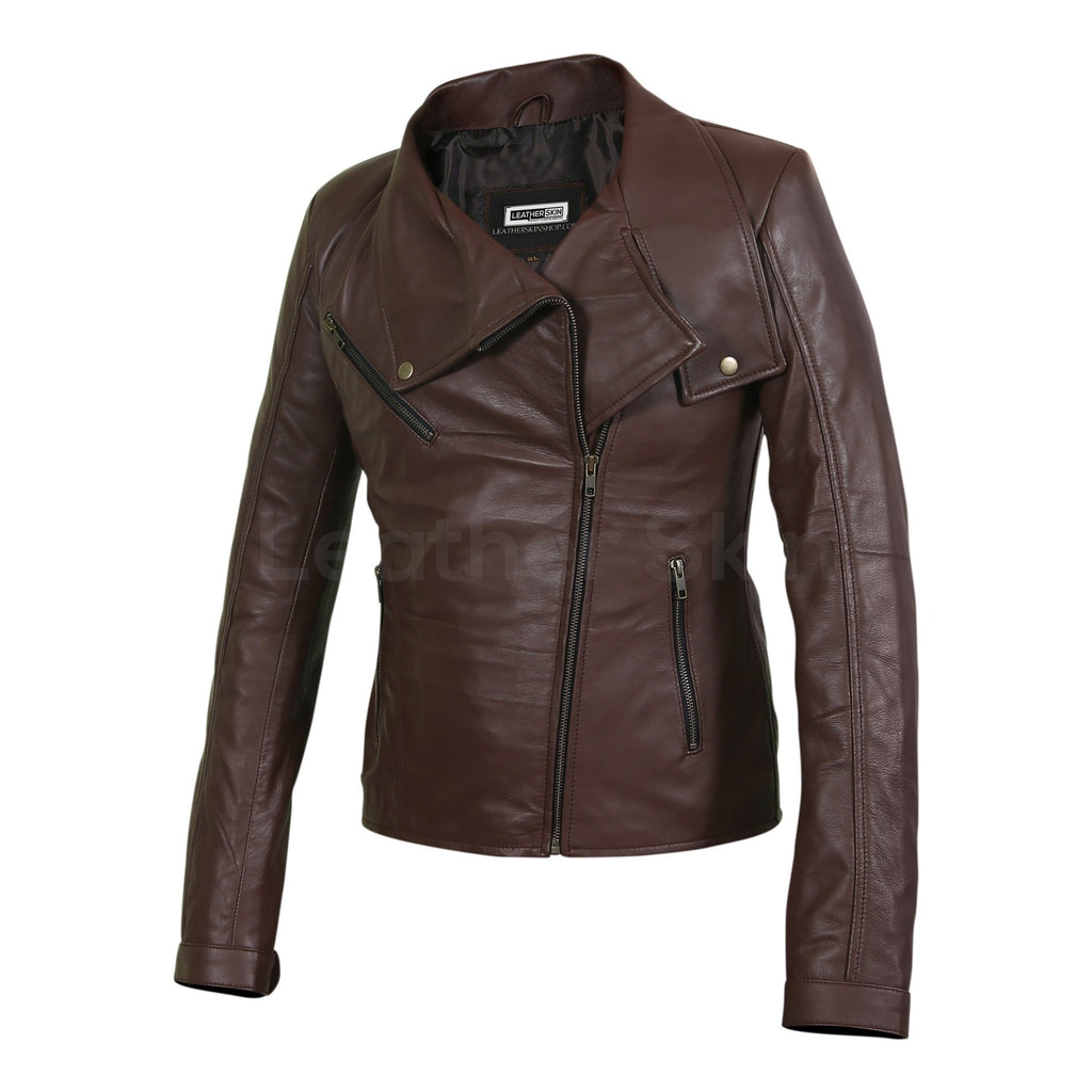 women brown jacket with Antique Zippers