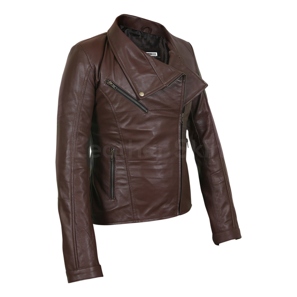 brown real leather jacket for women
