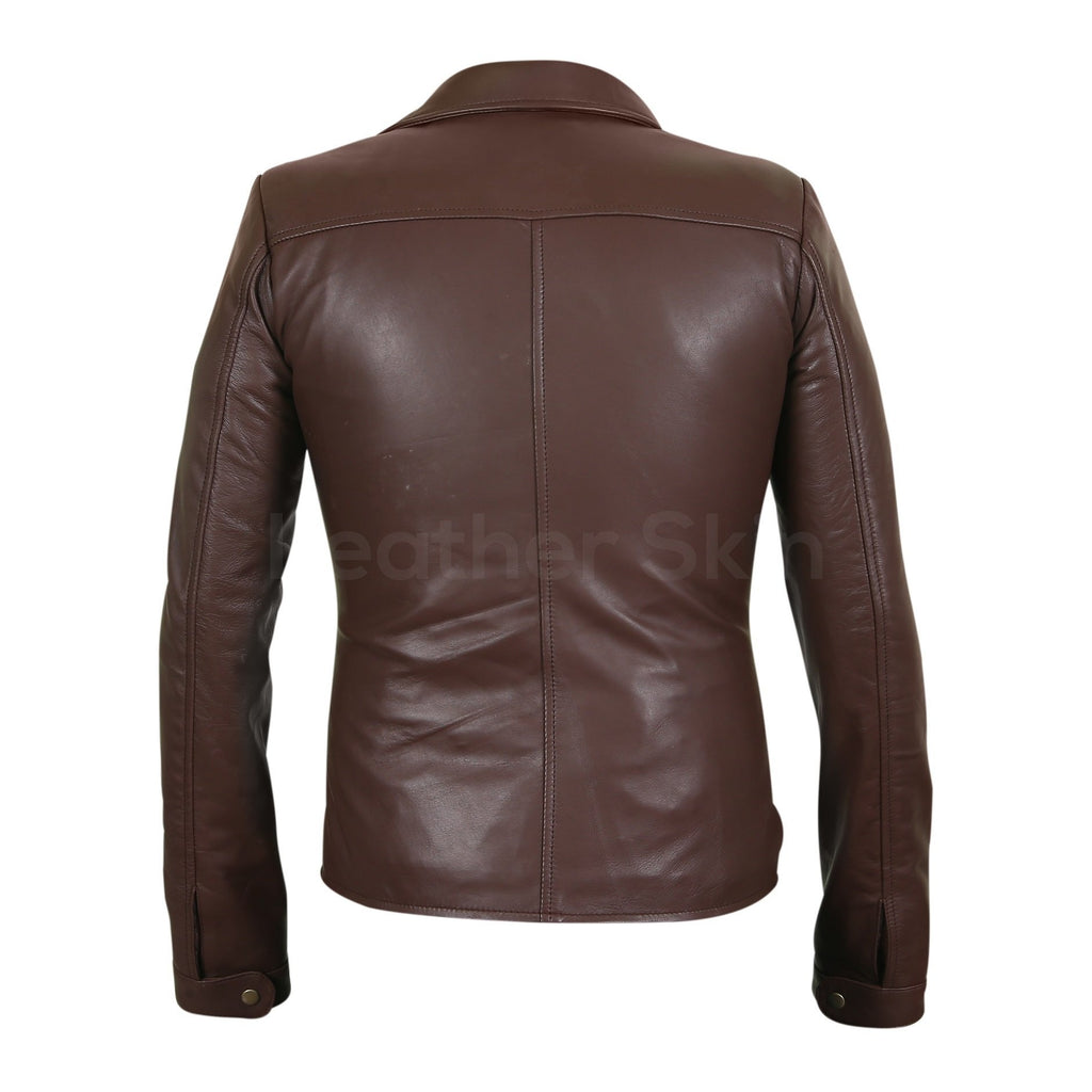 Women Brown Real Leather Jacket with Antique Zippers