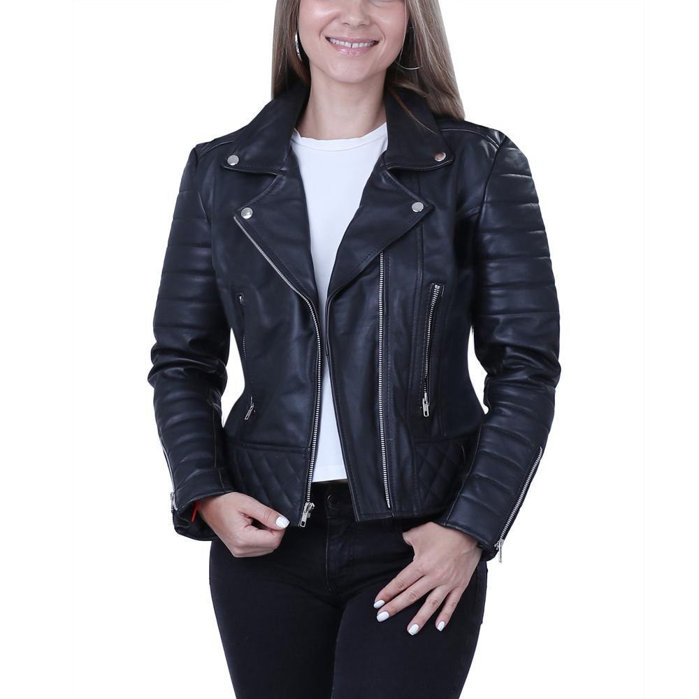 Womens Leather Blazer Classic Real Leather Coat 04