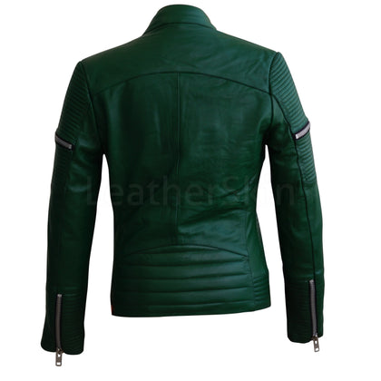 Women Green Sheep Skin Rib Quilted Genuine Leather Jacket