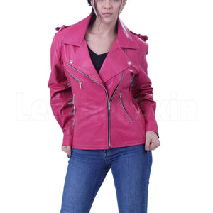 Women Hot Pink Biker Jacket
