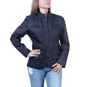 Women Matt Charcoal Black Leather Blazer