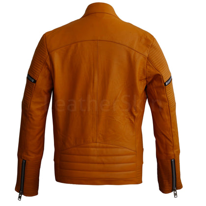 Women Mustard Yellow Sheep Skin Rib Quilted Genuine Leather Jacket