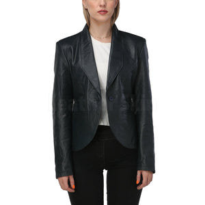 Women Navy Blue Leather Blazer